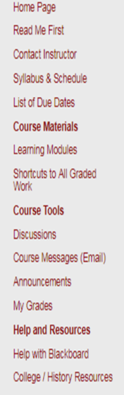Title: Course Menu  - Description: Provides explanations for items on the left menu on Blackboard.